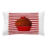 Red Brown Cupcake Stripes Pillow Case