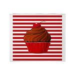 Red Brown Cupcake Stripes Throw Blanket