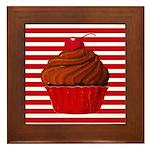 Red Brown Cupcake Stripes Framed Tile