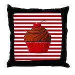 Red Brown Cupcake Stripes Throw Pillow