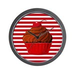 Red Brown Cupcake Stripes Wall Clock