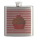 Red Brown Cupcake Stripes Flask