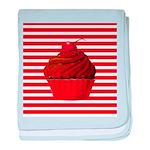Red Brown Cupcake Stripes baby blanket