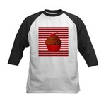 Red Brown Cupcake Stripes Baseball Jersey