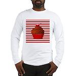 Red Brown Cupcake Stripes Long Sleeve T-Shirt