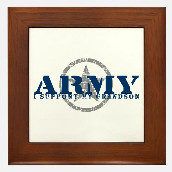 Army - I Support My Granson Framed Tile
