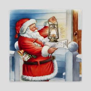 Vintage Santa 3 Queen Duvet