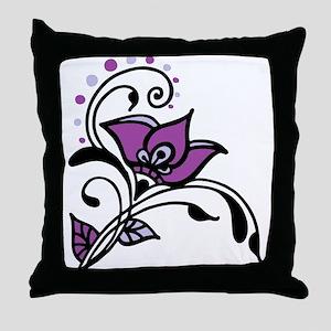 Artsy Awareness Flower Throw Pillow