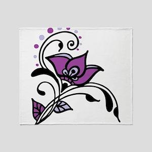 Artsy Awareness Flower Throw Blanket