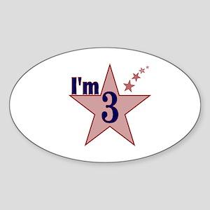 I'm 3 Boys Birthday Oval Sticker