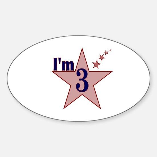 I'm 3 Boys Birthday Oval Decal