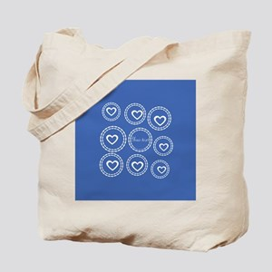 Bright Blue Hearts Tote Bag