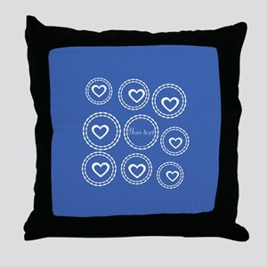 Bright Blue Hearts Throw Pillow