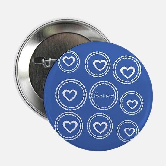 """Bright Blue Hearts 2.25"""" Button"""