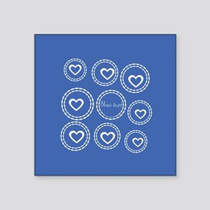"Bright Blue Hearts Square Sticker 3"" x 3"""