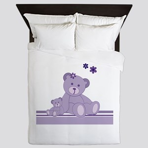Purple Awareness Bears Queen Duvet