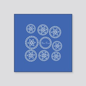 "Blue White Floral Square Sticker 3"" x 3"""