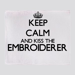 Keep calm and kiss the Embroiderer Throw Blanket