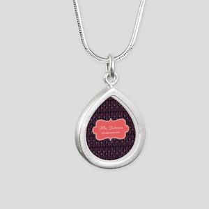 Grey Coral Personalized Silver Teardrop Necklace