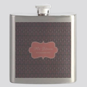 Grey Coral Personalized Name Flask