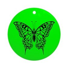 Green Butterfly Ornament (Round)