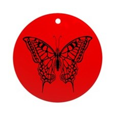 Red Butterfly Holiday Ornament (Round)