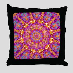 Trippy Hippy | v6 Geometric Mandala Throw Pillow