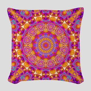 Trippy Hippy   v6 Geometric Ma Woven Throw Pillow