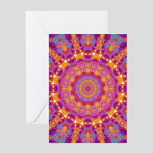 Trippy Hippy   v6 Geometric Mandala Greeting Cards