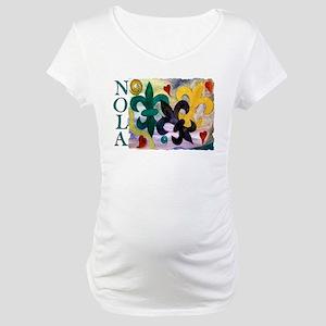 NOLA Mardi Gras Fleur de lis Maternity T-Shirt