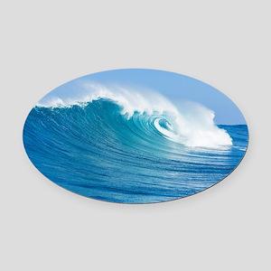 Blue Wave Oval Car Magnet
