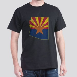 Vintage Arizona State Outline Flag Dark T-Shirt