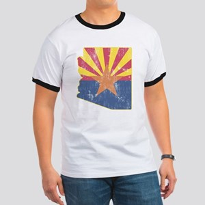 Vintage Arizona State Outline Flag Ringer T