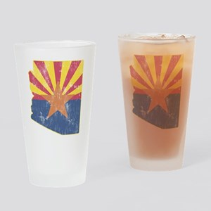 Vintage Arizona State Outline Flag Drinking Glass