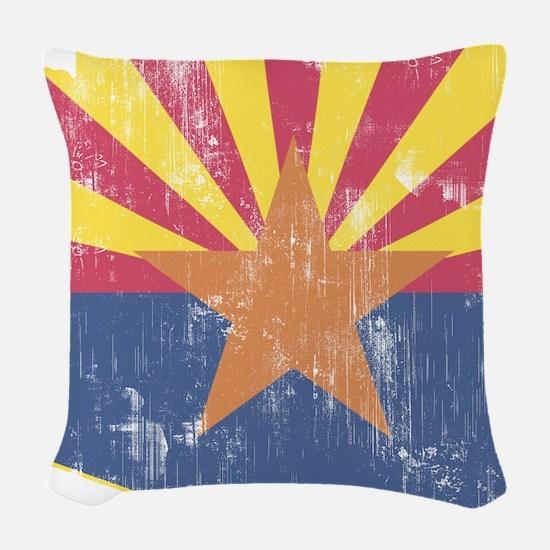 Vintage Arizona State Outline Woven Throw Pillow