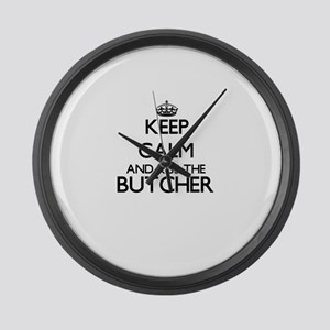 Keep calm and kiss the Butcher Large Wall Clock