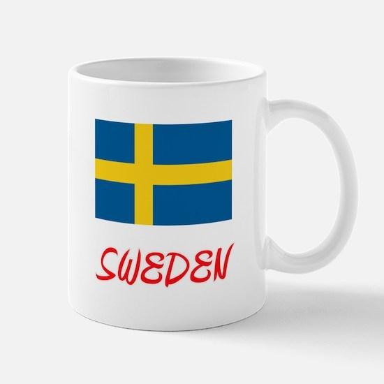 Sweden Flag Artistic Red Design Mugs