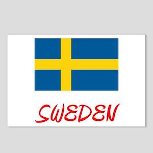 Sweden Flag Artistic Red Postcards (Package of 8)