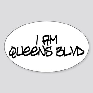 I am Queens Blvd 4 - Blk Oval Sticker