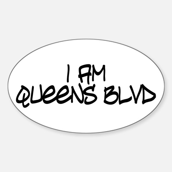 I am Queens Blvd 4 - Blk Oval Decal