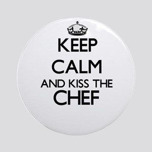 Keep calm and kiss the Chef Ornament (Round)