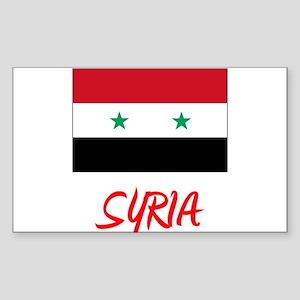 Syria Flag Artistic Red Design Sticker