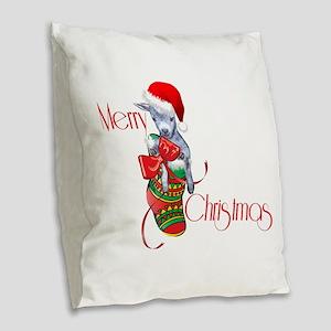 Merry Christmas Baby Goat in Stocking Burlap Throw