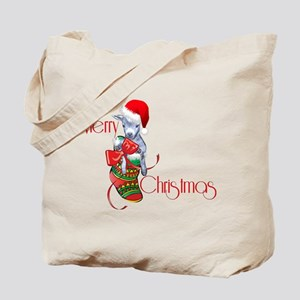 Merry Christmas Baby Goat in Stocking Tote Bag