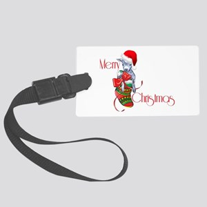 Merry Christmas Baby Goat in Stocking Luggage Tag