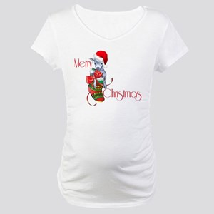 Merry Christmas Baby Goat in Stocking Maternity T-