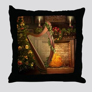 Celtic Holly Harp Throw Pillow