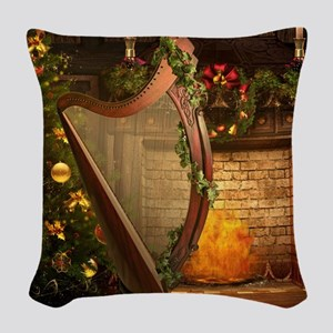 Celtic Holly Harp Woven Throw Pillow