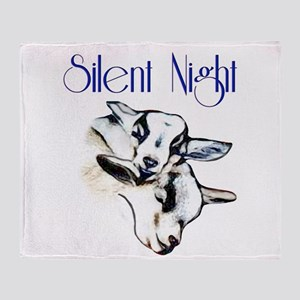Baby Pygmy Goats Silent Night Throw Blanket