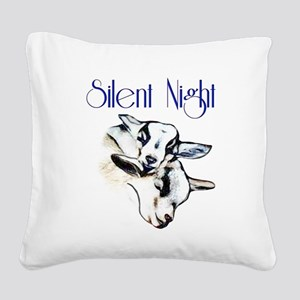Baby Pygmy Goats Silent Night Square Canvas Pillow